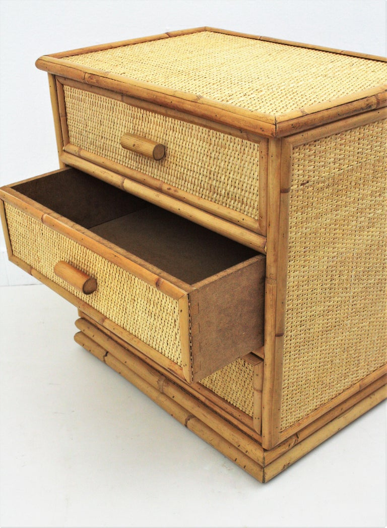 Spanish Rattan and Bamboo Three-Drawer Small Chest End Table Stand, 1970s For Sale 1