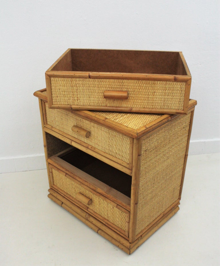 Spanish Rattan and Bamboo Three-Drawer Small Chest End Table Stand, 1970s For Sale 2