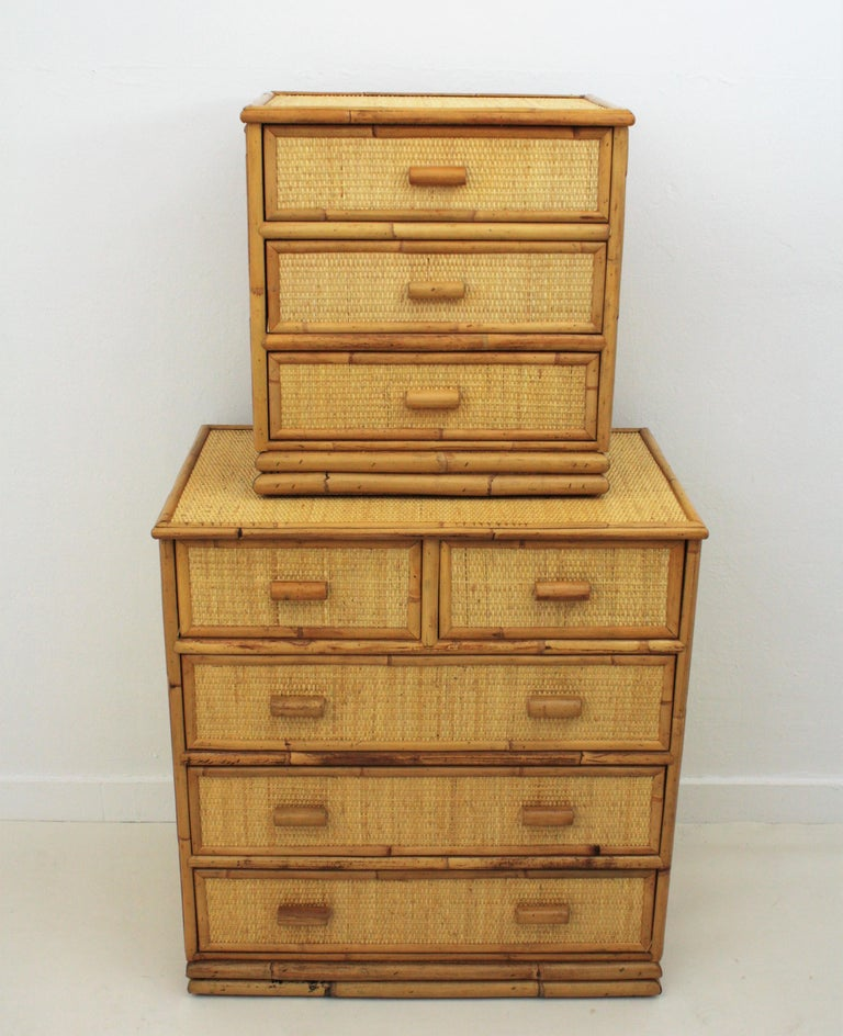 Spanish Rattan and Bamboo Three-Drawer Small Chest End Table Stand, 1970s For Sale 3