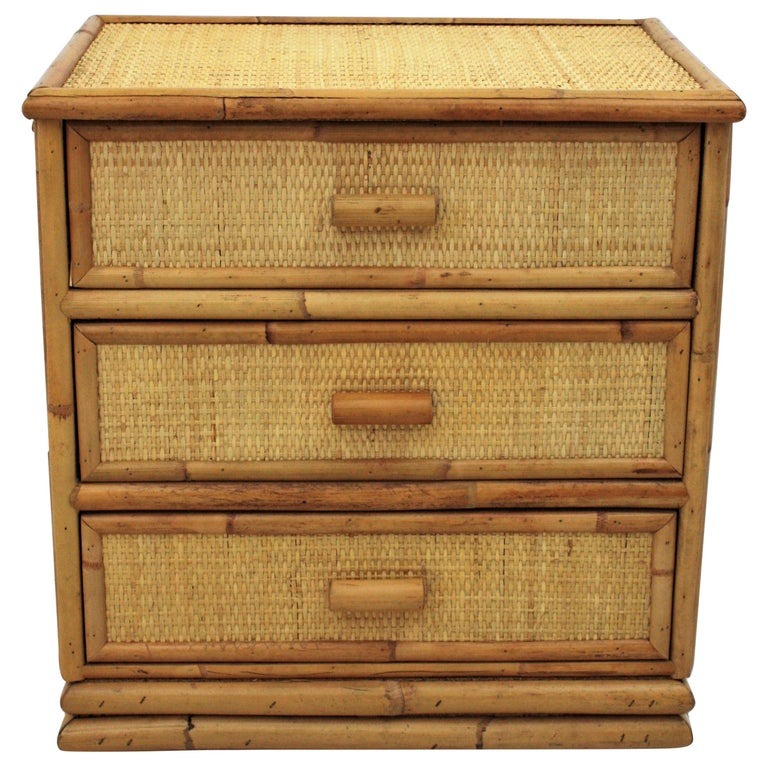 Spanish Rattan and Bamboo Three-Drawer Small Chest End Table Stand, 1970s For Sale