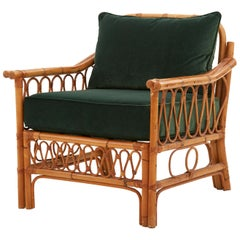 Spanish Rattan Armchair with Emerald Green Velvet Cushions