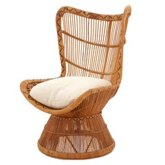 Spanish Rattan and Bamboo Wing Chair