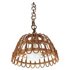 Spanish Rattan Bell Pendant or Hanging Light, 1960s
