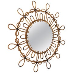 Spanish Rattan and Wicker Flower Burst Mirror with Loops and Pyrography Details
