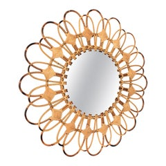 Spanish Rattan & Wicker Sunburst Flower Wall Mirror with Rhombus Decorations