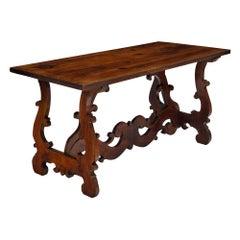 "Spanish Renaissance Antique ""Lyra"" Trestle Table"