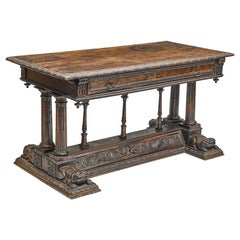 Spanish Renaissance Carved Walnut Table, 17th Century and Later