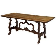 Spanish Renaissance Style Walnut Trestle Table, Late 19 Century