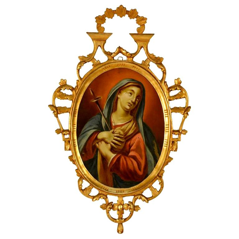 Spanish Reverse Painting Our Lady of Sorrows For Sale
