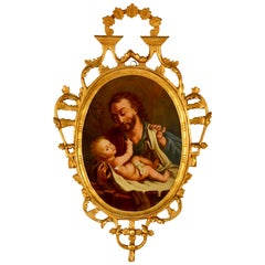 Spanish Reverse Painting Saint Joseph with the Christ Child