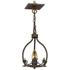 Spanish Revival 1-Light Iron Pendant W/ Fluer De Lis