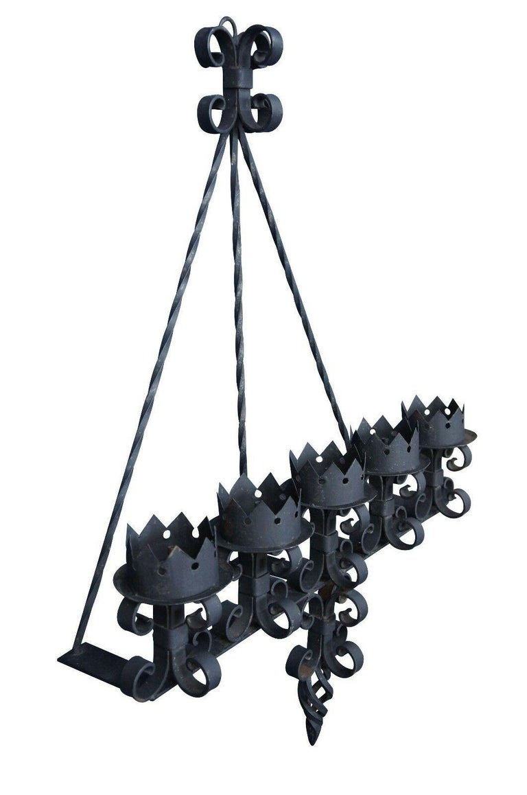 Spanish Revival Brutalist Iron Gothic Wall Sconce 5-Light Candle Candelabra In Good Condition For Sale In Dayton, OH