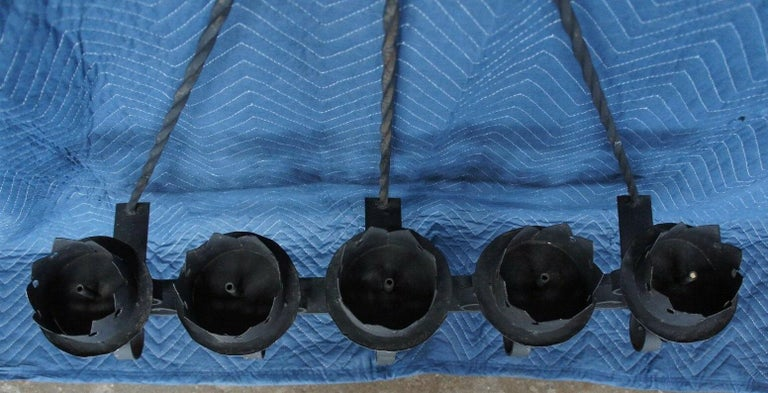 20th Century Spanish Revival Brutalist Iron Gothic Wall Sconce 5-Light Candle Candelabra For Sale