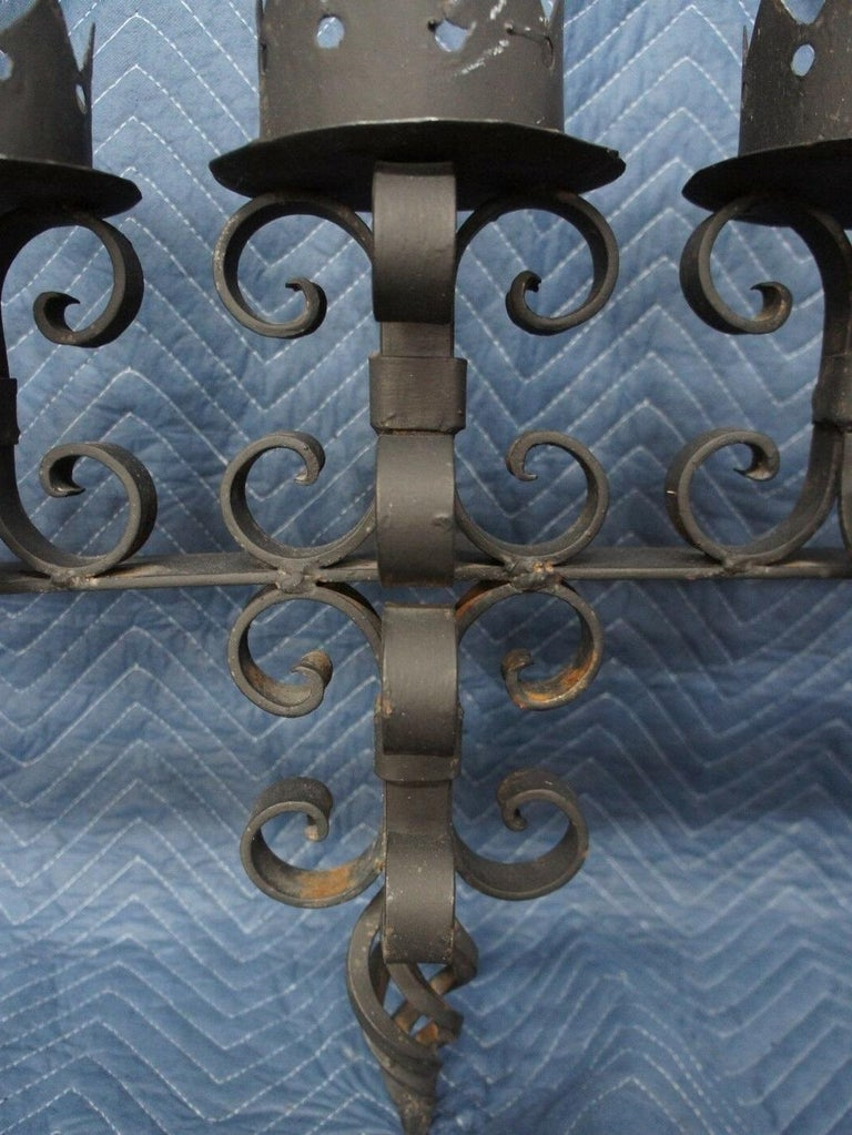 Spanish Revival Brutalist Iron Gothic Wall Sconce 5-Light Candle Candelabra For Sale 1