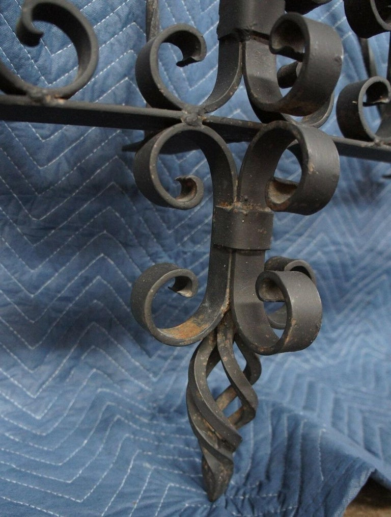 Spanish Revival Brutalist Iron Gothic Wall Sconce 5-Light Candle Candelabra For Sale 2