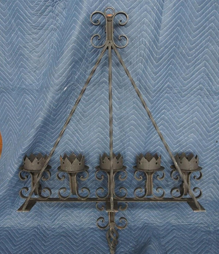 Spanish Revival Brutalist Iron Gothic Wall Sconce 5-Light Candle Candelabra For Sale 3