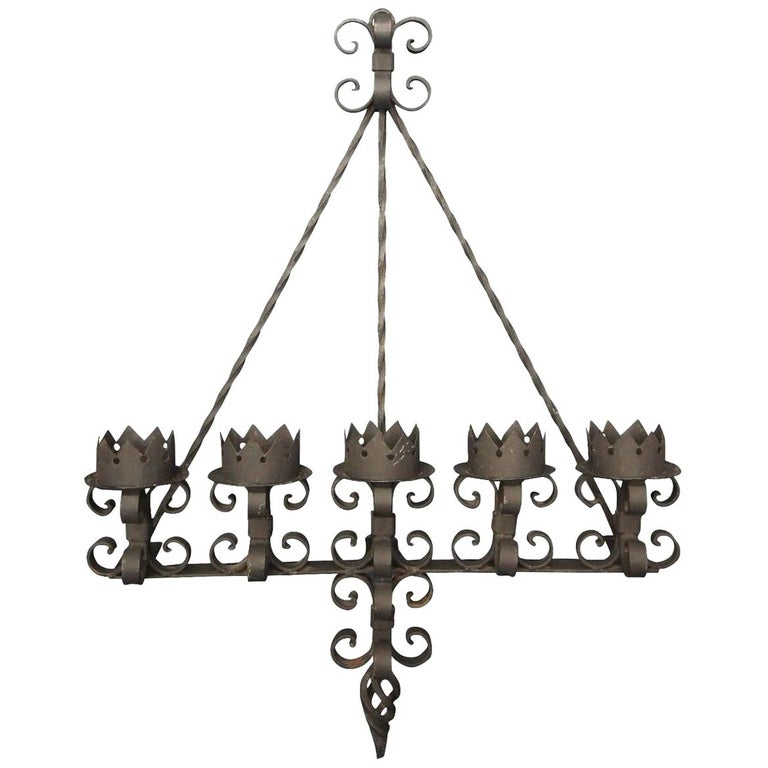 Spanish Revival Brutalist Iron Gothic Wall Sconce 5-Light Candle Candelabra For Sale