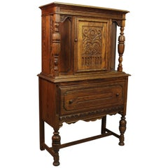 Spanish Revival Oak Cabinet, circa 1920s