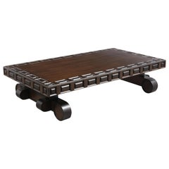 Spanish Revival Style Carved Wood Coffee table