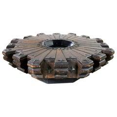 Spanish Revival Style Rustic Octagon Pinwheel Large Coffee Table Artes De Mexico