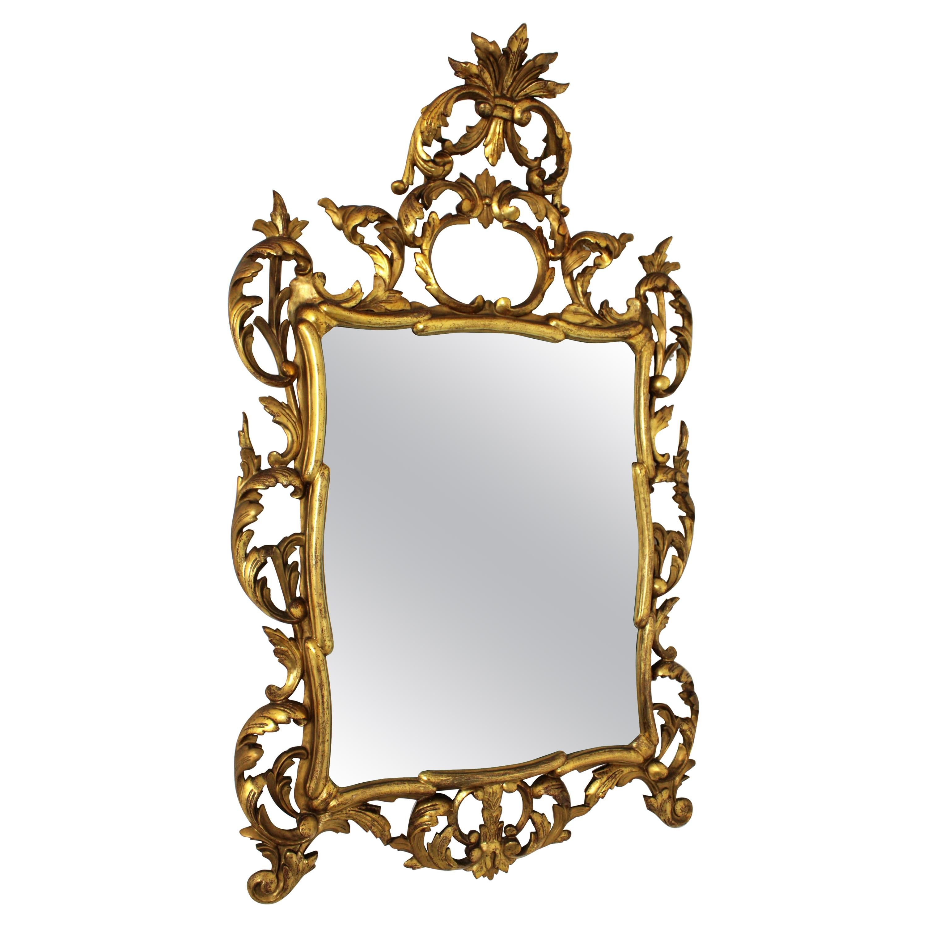 Spanish Rococo Giltwood Mirror with Crest