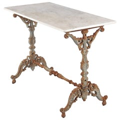 Spanish Rococo Iron Base Bistro Table with Marble Top, Late 1800s