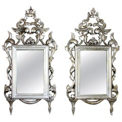 Spanish Rococo Silver Leaf Carved Wood Mirrors, Pair