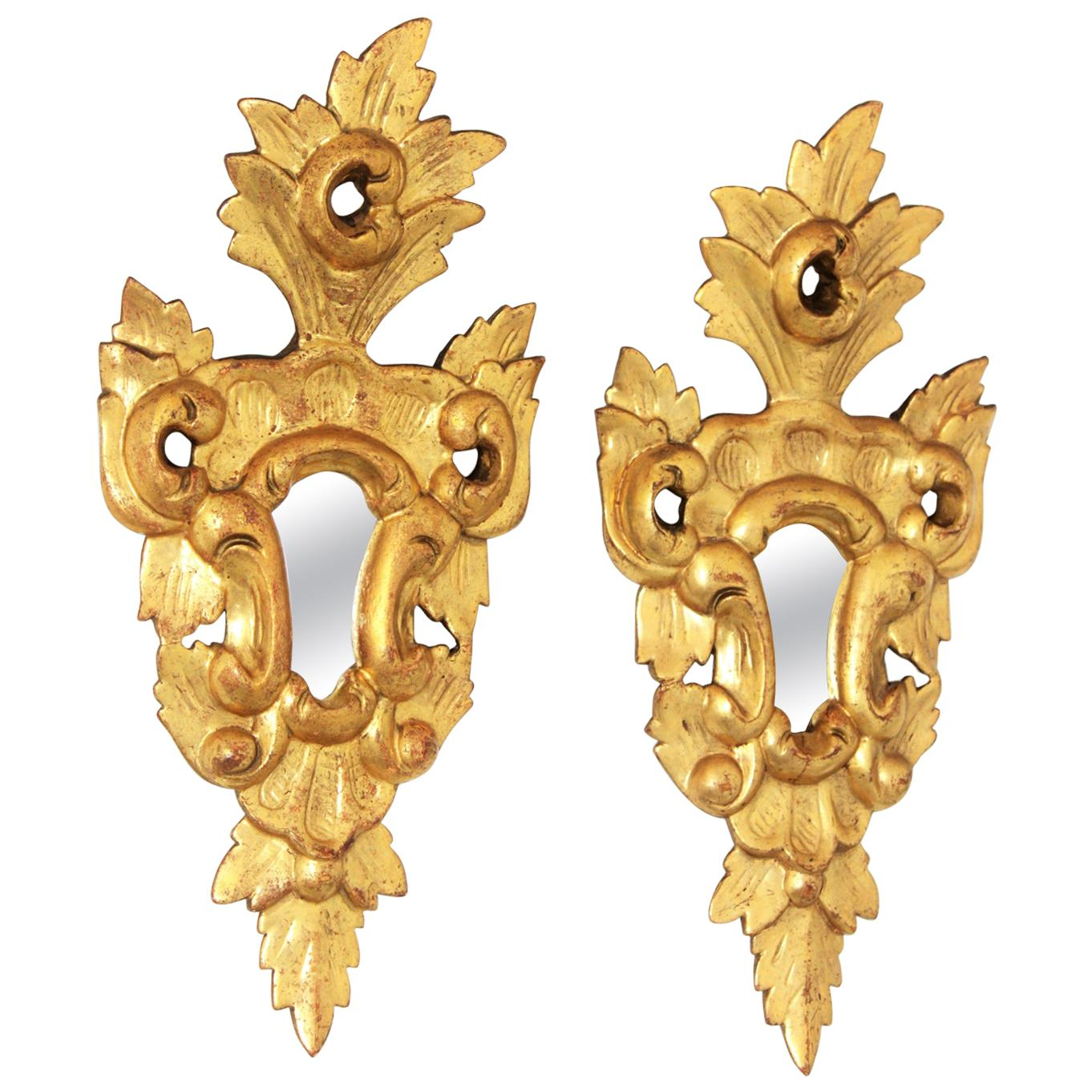 Spanish Rococo Style 24-Karat Gold Leaf Giltwood Miniature Mirrors, Pair
