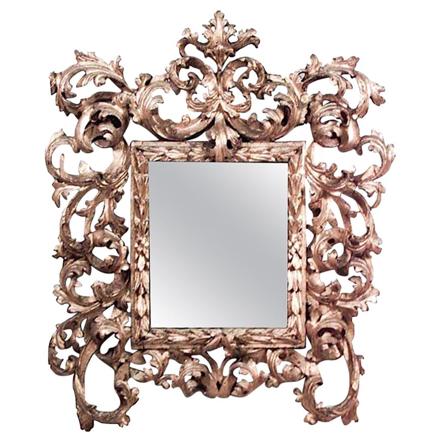 Spanish Rococo Style Carved Giltwood Acanthus Leaf Wall Mirror