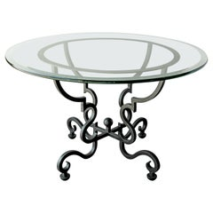 Spanish Round Glass Dining Table on Wrought Iron Base