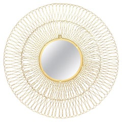 Spanish Round-Shaped Brass Mirror with Open Intertwining Loop Surround
