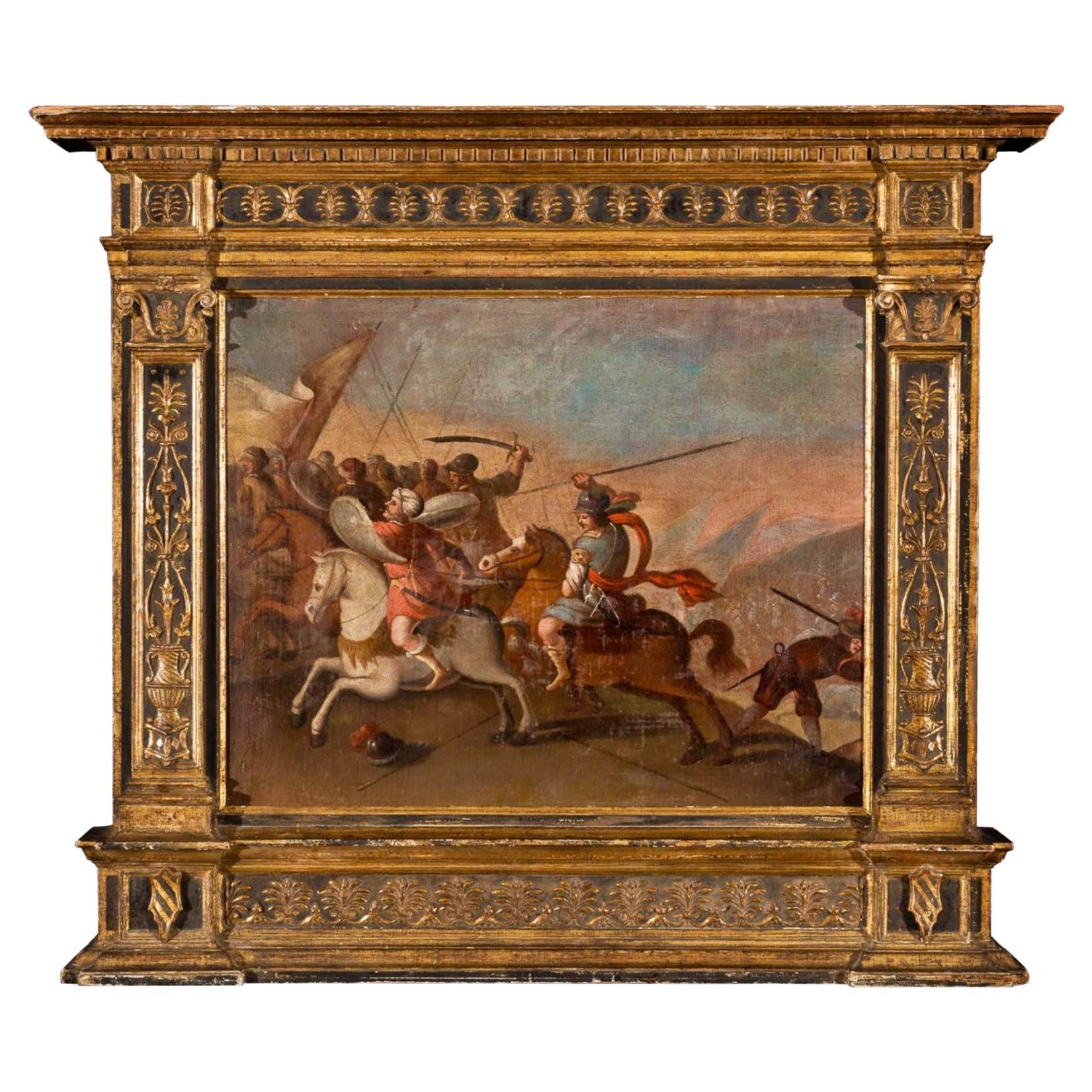 """Spanish School 17th Century """" Battle Scene """" Oil on Wood"""