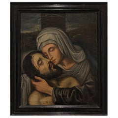 Spanish School Early 17th Century Oil Painting of Christ and the Virgin Mary