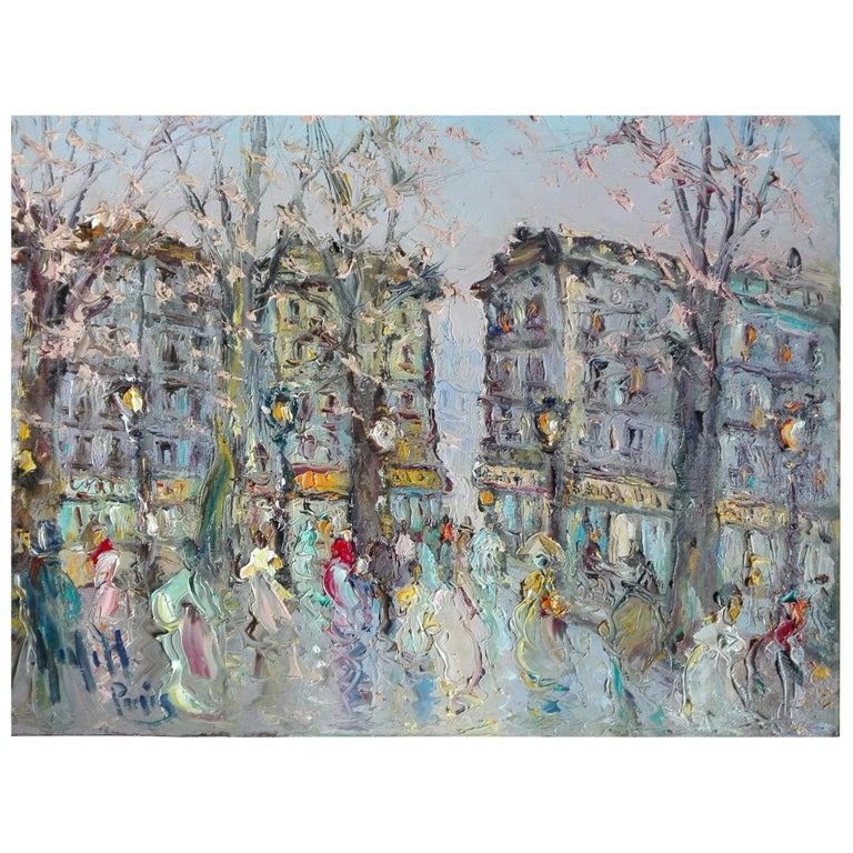 "Spanish School Painting ""Paris"", 20th Century For Sale"