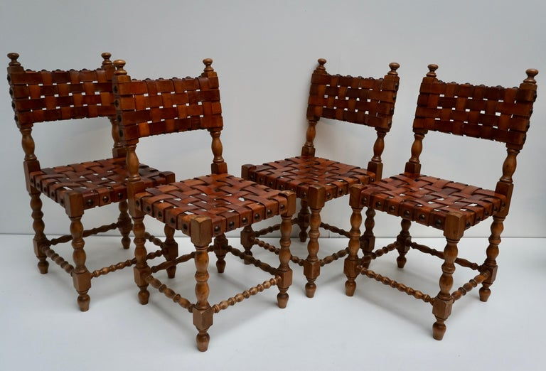 Mid-Century Modern Spanish Set of Four Interlaced Leather Wooden Chairs For Sale