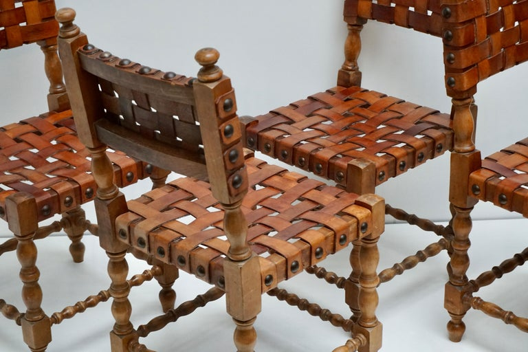 Spanish Set of Four Interlaced Leather Wooden Chairs For Sale 4