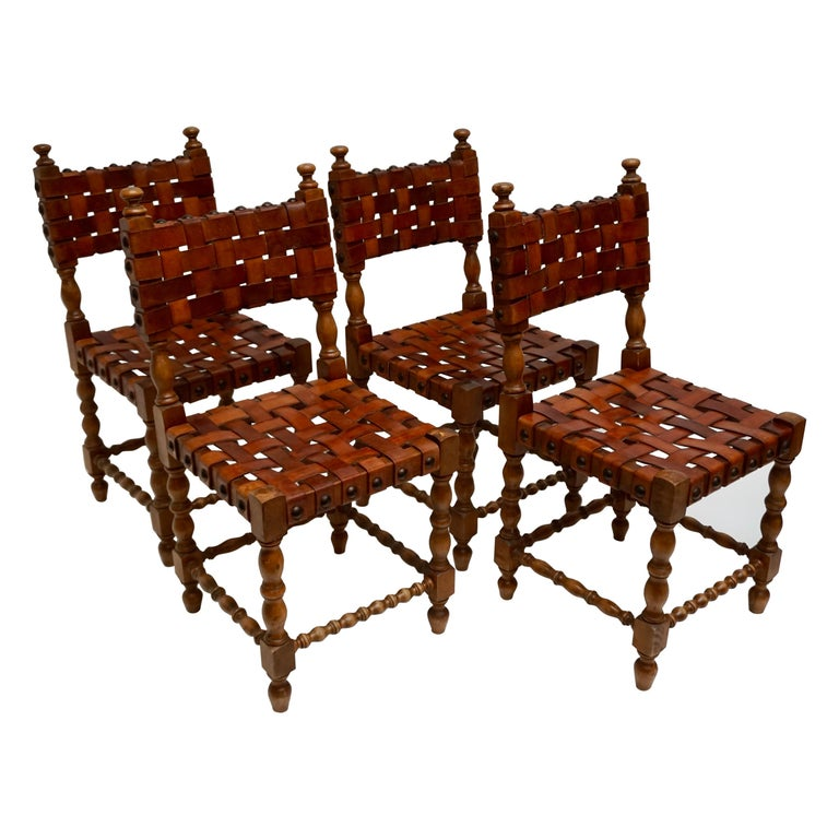 Spanish Set of Four Interlaced Leather Wooden Chairs For Sale