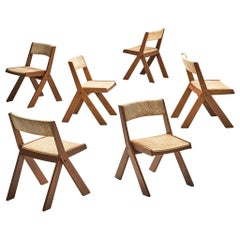 Spanish Set of Six Chairs in Oak and Rush