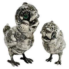 Spanish Silver Salt and Pepper Shakers in the Shape of Chicks, 1940s