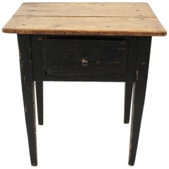 Spanish Single Drawer Rustic Table in Black Patina