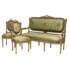 Spanish Sofa Set and Two Louis XVI Style Chairs, 19th Century