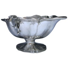 Spanish Sterling 915 standard Silver double-lipped sauce boat by Manuel Garrido