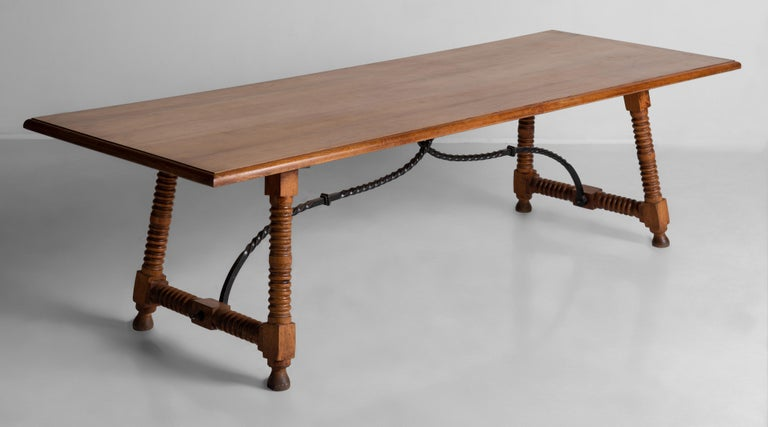 Spanish style dining table, France, circa 1900.  Spanish style dining table made for an estate on the French Riviera.