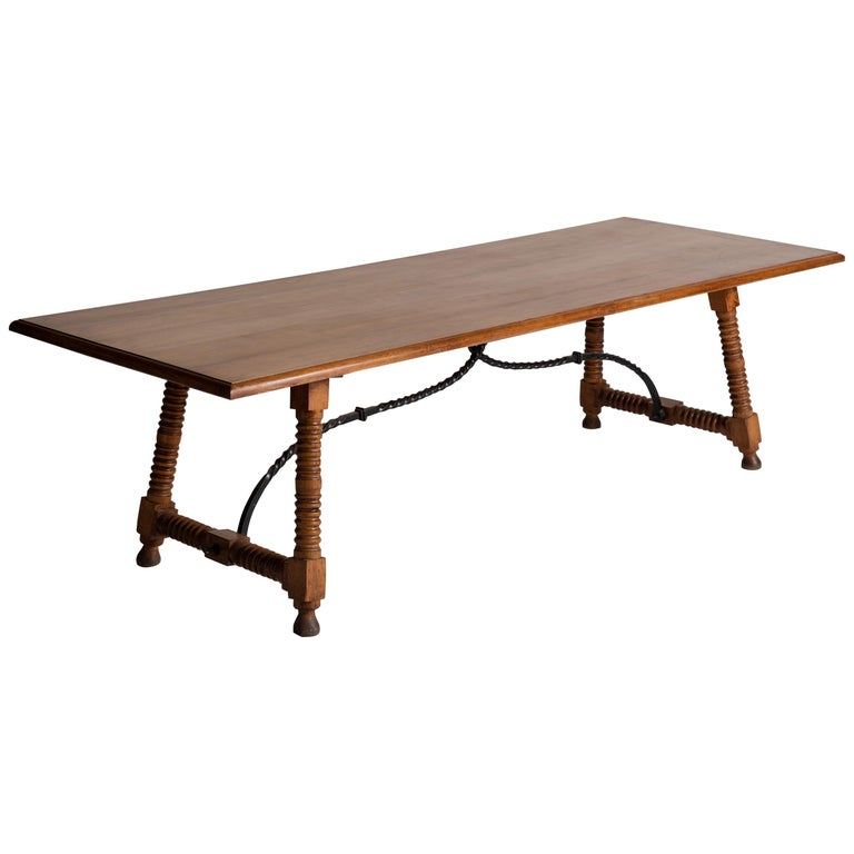 Spanish Style Dining Table, France, circa 1900 For Sale