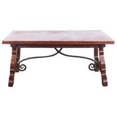 Spanish Style Oak and Wrought Iron Draw-Leaf Trestle Table