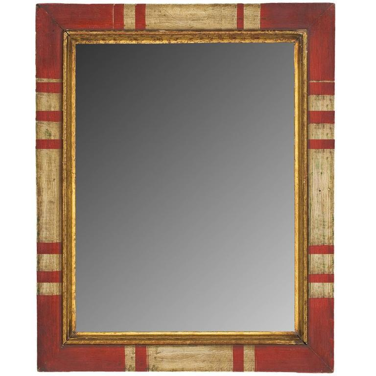 Spanish Colonial Spanish Style Painted and Gilt Mirror For Sale