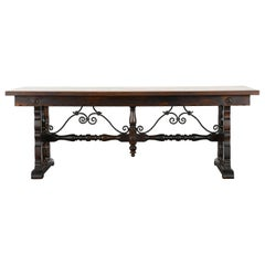 Spanish Style Table with Wrought Iron Stretcher Base, 1920s
