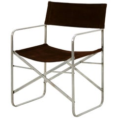 Spanish Suede and Metal Folding Chair