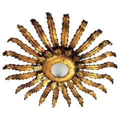 Spanish Sunburst Flushmount Ceiling Light in Brutalist Style, Metal & Gold Leaf