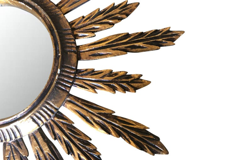 Spanish Sunburst Mirror In Good Condition For Sale In Atlanta, GA